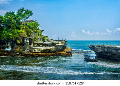 Pura Tanah Lot  , famous ocean temple in Bali Indonesia.