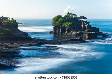 Pura Tanah Lot in the morning, famous ocean temple in Bali, Indonesia.