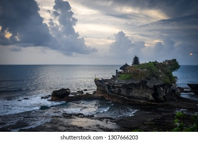 Pura Tanah Lot temple and ocean at sunset, Bali, Indonesia