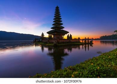 Pura Ulun Danu Beratan temple silhouette scene in Bali , Indonesia