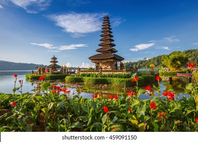 Pura Ulun Danu Bratan, Bali. Hindu temple surrounded by flowers on Bratan lake, Bali. Major Shivaite water temple in Bali, Indonesia. Water temple in Bali, Indonesia. Hindu temple of Bali, Indonesia