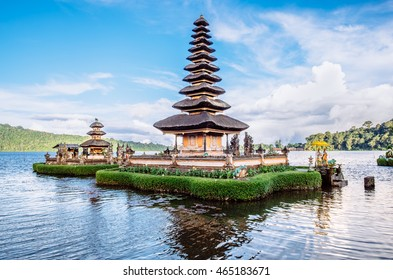 Pura Ulun Danu Bratan, Bali. Hindu temple on Bratan lake. Major Shivaite and water temple of Bali island, Indonesia. Hindu temple - traditional pagoda photography - travel Bali, explore Indonesia