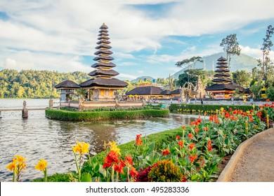 Pura Ulun Danu Bratan, Bali island landscape. Hindu temple on Beratan lake, Bali. Major Shivaite temple of Bali, Indonesia pagoda. Travel concept Indonesia. Hindu temple Bali, major Indonesia landmark