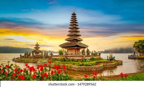 Pura Ulun Danu Bratan, Famous Hindu temple on Bratan lake at sunrise in Bali, Indonesia.