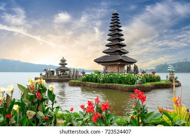 Pura Ulun Danu Bratan, a Hindu temple surrounded by flowers on Bratan lake, one of famous tourist attraction in Bali, Indonesia