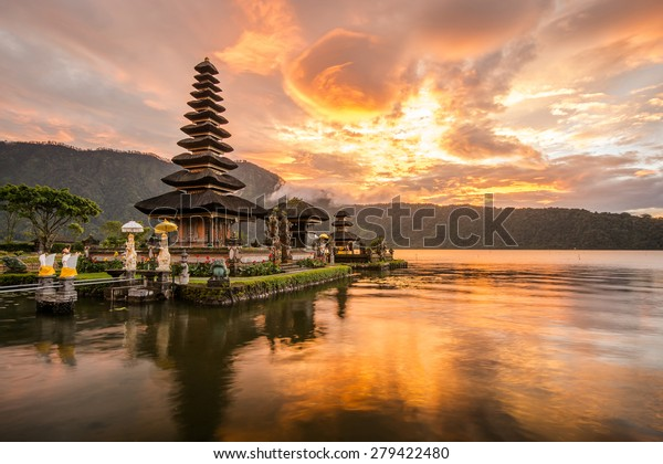 Pura Ulun Danu Bratan, Hindu temple on Bratan lake landscape, one of famous tourist attraction in Bali, Indonesia