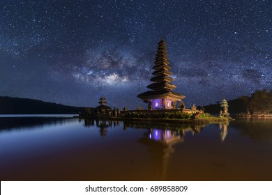 Pura Ulun Danu Bratan at night, Bali , Indonesia