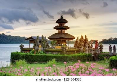 Pura Ulun Danu Bratan temple on the Bratan lake, Bali, Indonesia