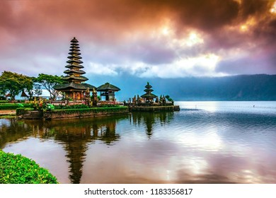 Pura Ulun Danu Bratan Temple, Hindu temple on Bratan lake, Bali, Indonesia