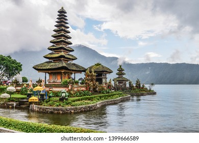Pura Ulun Danu Bratan temple at rainy day on Bali, Indonesia