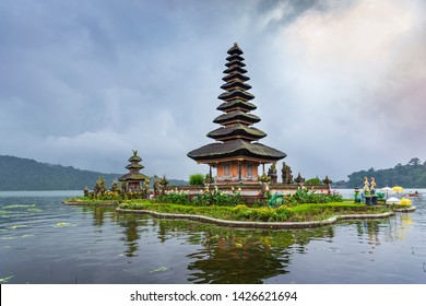 Pura Ulun Danu Bratan temple in Bratan lake, is famous tourist attraction destination in Bali island, Indonesia