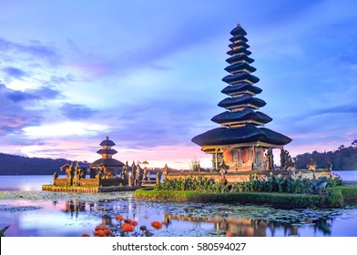Pura Ulun Danu Bratan temple in Bali island. Hindu temple in flowers on Beratan lake, Bali ,Indonesia.