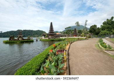 Pura Ulun Danu Bratan Temple on Bratan lake in Bali, Indonesia