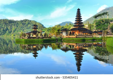 Pura Ulun Danu temple on a lake Beratan on Bali Indonesia