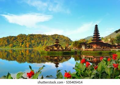 Pura Ulun Danu temple on a lake Beratan on Bali Indonesia