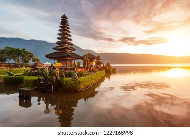 Pura Ulun Danu temple panorama at sunrise on a lake Bratan, Bali, Indonesia