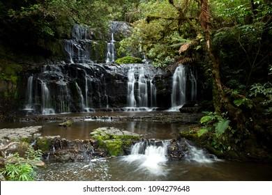 Purakaunui waterfalls in south island in New Zealand