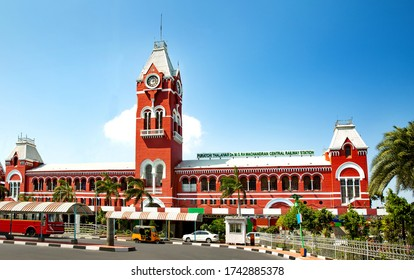 Puratchi Thalaivar Dr MGR Central railway station , CHENNAI, TAMIL NADU, INDIA 20 FEBRUARY 2020 RAILWAY STATION DAY LIGHT BLUE SKY