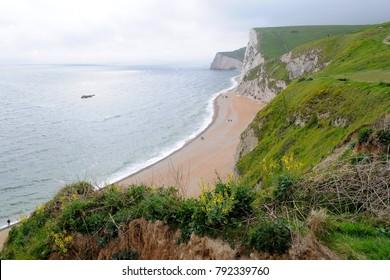 Purbeck Heritage Coast, Dorset / UK - 05/17/16: Beach near Durdle Door.