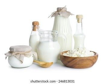 Pure dairy products isolated on white background