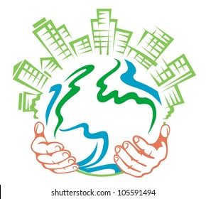 Pure earth in people hands for ecology or environment concept design. Vector version also available in gallery