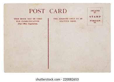 pure faded, tattered vintage postcard on white background