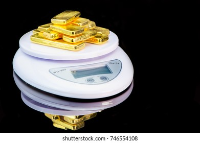 Pure gold bars is placed on white Weight Scale represent the business and finance concept idea