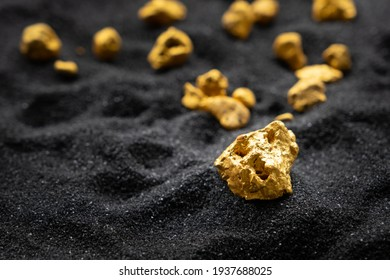 Pure gold from the mine that was unearthed was placed on the black sand.