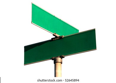 Pure guide sign of crossing of streets against the white background.