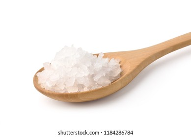 Pure natural sea salt in wooden spoon isolated on white background with clipping path.