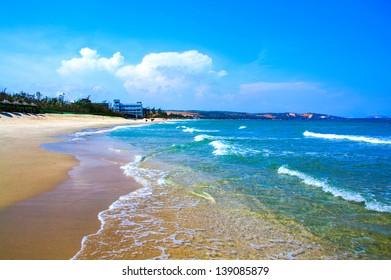 Pure sea in Mui ne bay, Vietnam. Mui ne is a famous bay with beautiful beaches in Vietnam