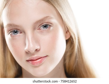 Pure skin for cosmetic products woman model blonde hair girl portrait isolated on white. Studio shot. - Shutterstock ID 758412652