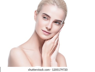 Pure skin face closeup woman with healthy blonde hair and skin soft. and clean isolated on white female portrait