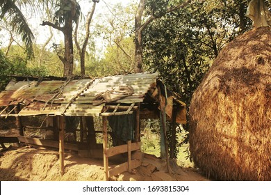 A pure village view of Bangladesh. This broken house used to be outside of home kitchen in every bangladeshi village home traditionally.