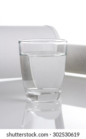 pure water in glass and water filter