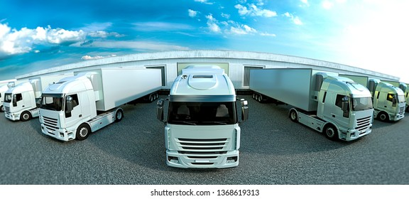 Pure white trucks on natural background
