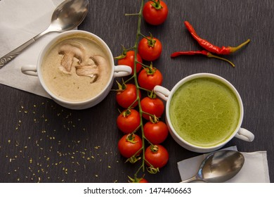 Puree soups, julienne soup with mushrooms and spinach, cherry tomatoes