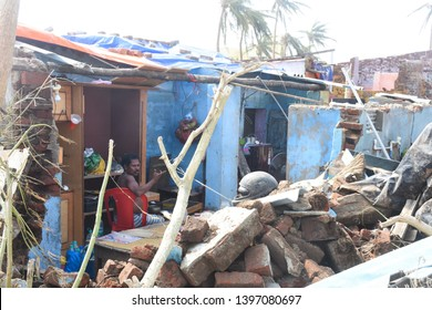 Puri, Odisha / India - May 3, 2019: Huge Damage Aftermath Of Extreme Severe Cyclonic Storm FANI Hits Puri Odisha India