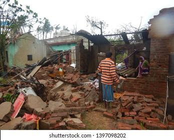 Puri, Odisha / India - May 3, 2019: Huge Damage Aftermath Of Extreme Severe Cyclonic Storm FANI Hits Puri Odisha India