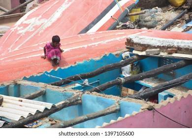 Puri, Odisha / India - May 4, 2019: Huge Damage Aftermath Of Extreme Severe Cyclonic Storm FANI Hits Puri Odisha India