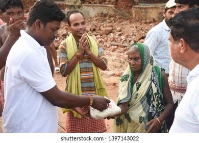 Puri, Odisha / India - May 5, 2019: Immediate Response Of Living Humanity To Extreme Severe Cyclonic Storm FANI affected people at Puri Odisha India