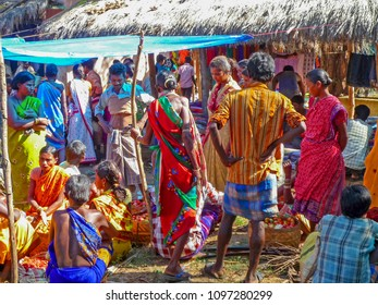 Puri, Odisha, India Nov 15, 2017 image of tribal people went to morning market to buy and sale some food and sometime just to change some kinds of vegetable and salt between them