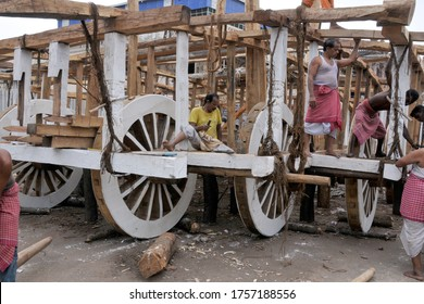 puri odisha india on june 18th 2014: Carpenters busy making wheels for the chariots for the annual Rath Yatra of Lord Jagannath in Puri.