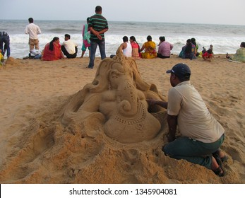 Puri, Odisha, India-March22,2019: International Sand Art Festival is a popular festival related to Sand Art and Tourism organized by Odisha Tourism during 1st December to 5th December at Konark,Odisha