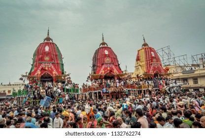 Puri, Orissa, India - August 9, 2011: A huge gathering of devotees from different parts of India at Puri on the occasion of ratha yatra or rathyatra. Rath for Lord Jagannath pulled by people.