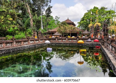 Purifying temple pond in the Tirta Empul Temple in Bali, Indonesia