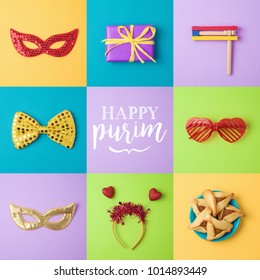 Purim background with carnival mask, hamantaschen cookies and noisemaker. Holiday creative set. Top view