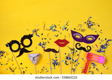 Purim celebration concept (jewish carnival holiday). Top view