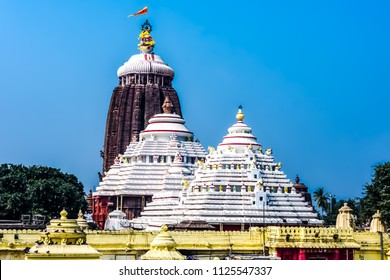 Puri/Odisha/India - 01-14-2017: Top of the Jagannath temple also called the White Pagoda, Puri, Odisha, India