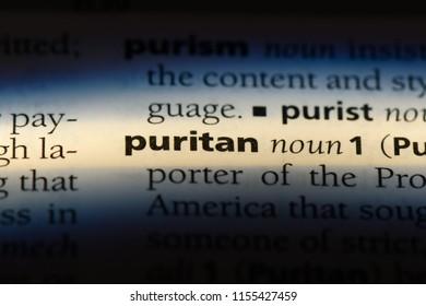 puritan word in a dictionary. puritan concept.